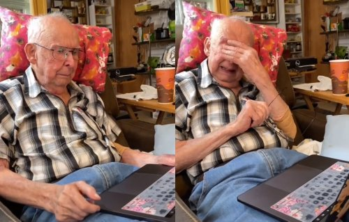 World's Most Adorable Grandpa Brought To Tears After Granddaughter Animates Old Photo Of Grandma, Bringing Her Back To Life
