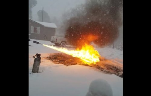 Redneck Genius Removes Snow From Driveway With Flamethrower