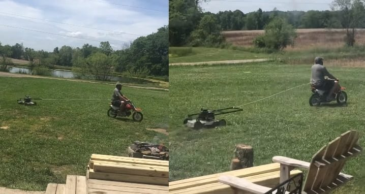 Redneck Dad Makes His Own Riding Lawnmower Out Of A Dirt Bike