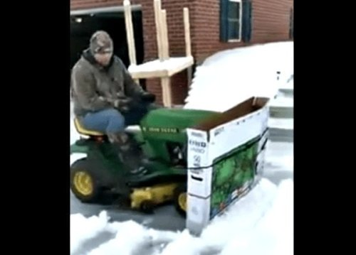 Guy Plows Snow With John Deere And TV Box, Takes Redneck Engineering To Next Level
