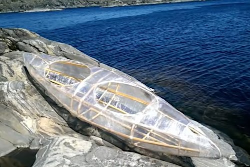 Man Builds Clever Bushcraft Kayak Using Plastic Wrap and Tape