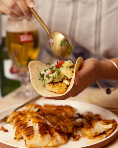 Fish Tacos with Pineapple Salsa And Cashew Cream