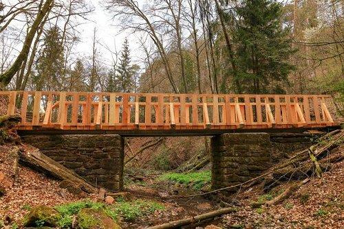 Neue Holzbrücke für den Sagenhaften Waldpfad