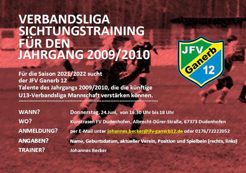 Verbandsliga Sichtungstraining U13 JFV Ganerb 12