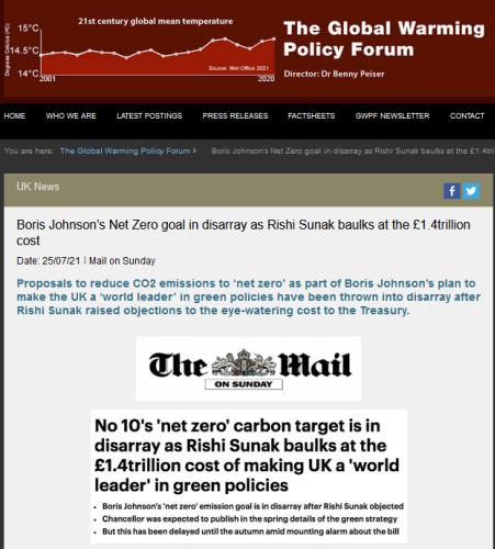 Boris Johnson's Net Zero goal in disarray as Rishi Sunak baulks at the £1.4trillion cost