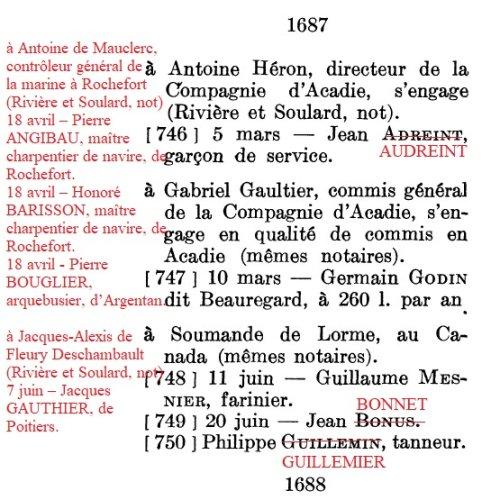 304 – Les engagés levés par Pierre Soumande Delorme pour le Canada en 1687