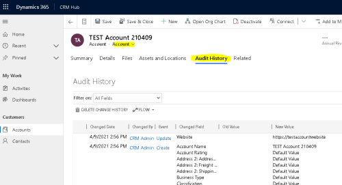How to Export the Audit History Values from Dynamics 365