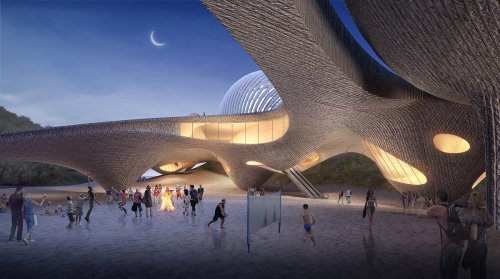 Hotel Nudibranch by SpActrum features undulating sandy-looking platform inspired by sea creatures