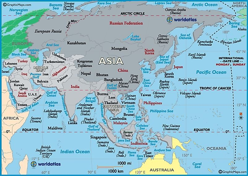 Asia Map / Map of Asia - Maps, Facts and Geography of Asia - Worldatlas.com