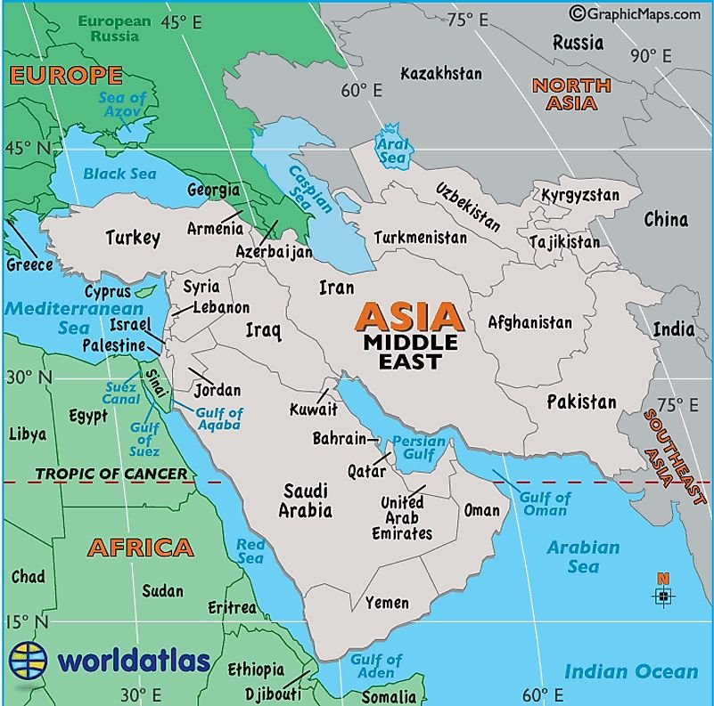 Middle East Map / Map of the Middle East - Facts, Geography, History of the Middle East - Worldatlas.com