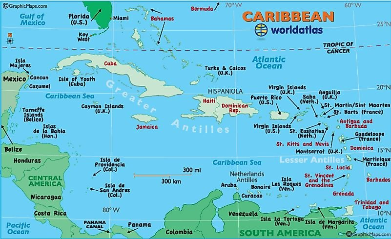 Caribbean Map / Map of the Caribbean - Maps and Information About the Caribbean - Worldatlas.com