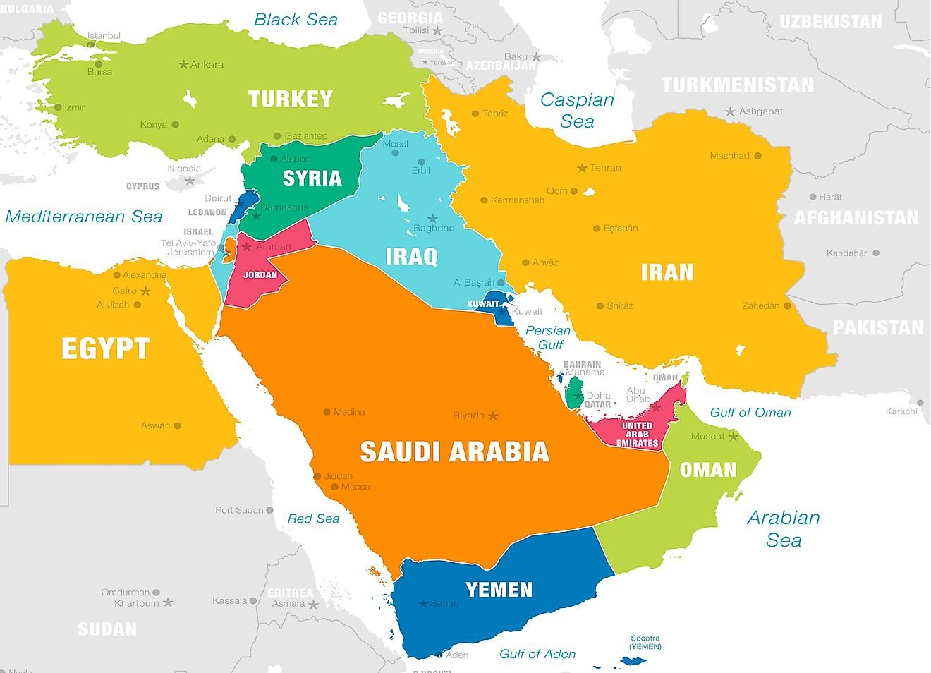 How Many Countries Are There In The Middle East?