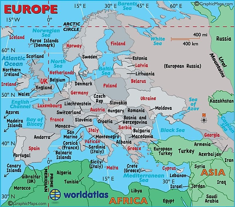 Europe Map / Map of Europe - Facts, Geography, History of Europe - Worldatlas.com