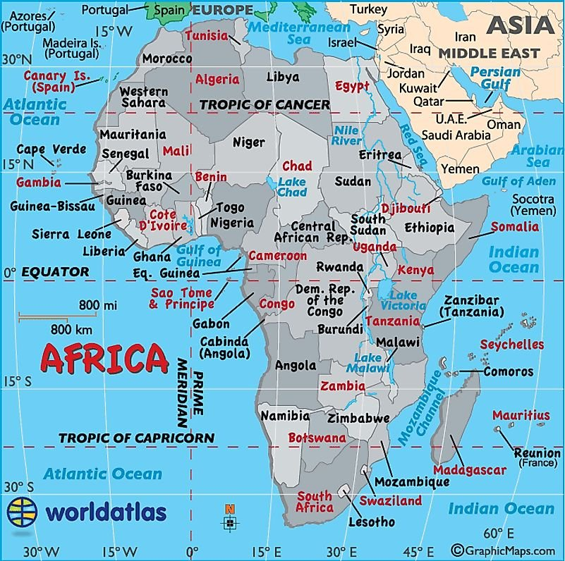 Africa Map / Map of Africa - Worldatlas.com