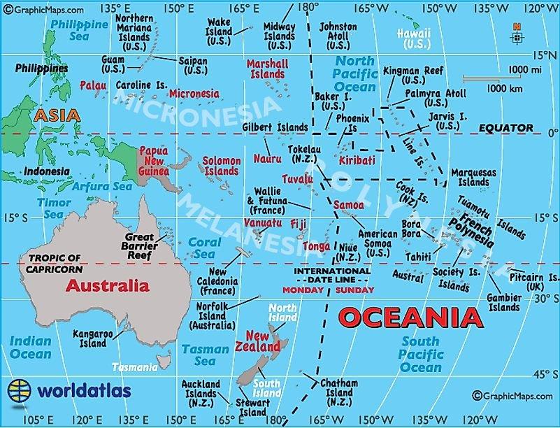 Australia Map / Oceania Map / Map of Australia / Map of Oceania - Worldatlas.com