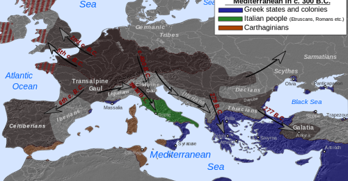 Map of Celtic Expansion - 6th-3rd century BCE