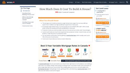 How Much Does It Cost To Build A House in Canada? | 2021 Guide - WOWA.ca