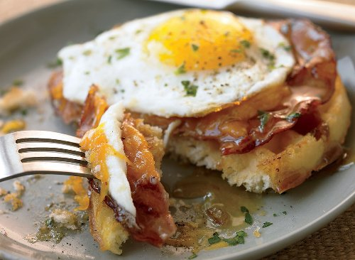Savory Waffle With Ham and Eggs Recipe | Eat This Not That