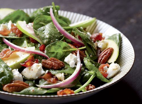 Spinach Salad Recipe With Apples and Bacon Dressing | Eat This Not That