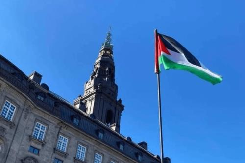 Palestinian flag flies outside Denmark parliament building