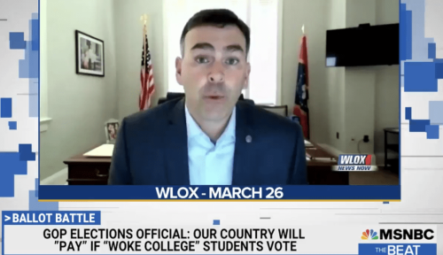 "Mississippi Republican Secretary of State worried about ""woke college students"" voting 