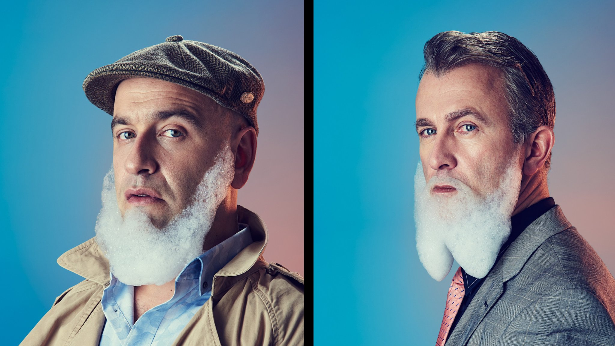 Witty conceptual portraits depict masculinity in modern men