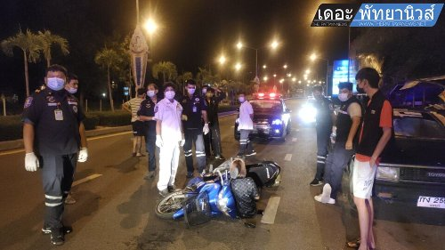 Fourteen-year-old female motorbike driver injured after crashing into parked car in Pattaya area this morning - The Pattaya News