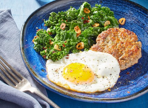 Keto Eggs and Sausage With Sautéed Greens Recipe | Eat This Not That