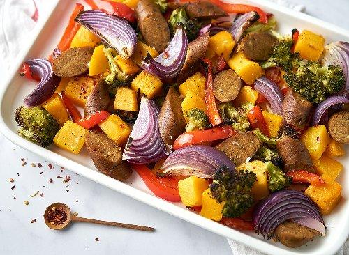 Vegan Sausage & Veggie Sheet-Pan Breakfast Recipe | Eat This Not That