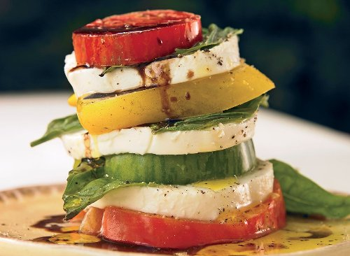 Italian-Inspired Caprese Tomato Tower Salad Recipe | Eat This Not That