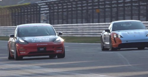 Tesla Model 3 modified by UP wins race against Porsche Taycan Turbo S - Electrek