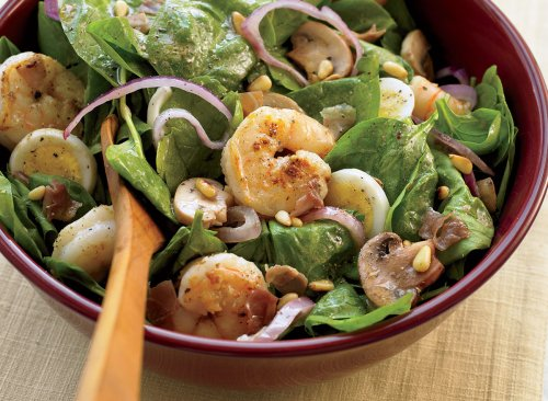 Shrimp and Spinach Salad With Bacon Drizzle Recipe | Eat This Not That