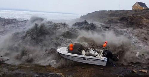 Terrifying footage shot by fisherman caught in Greenland tsunami | Boing Boing
