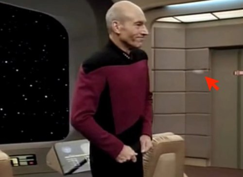 Watch: Every time Captain Picard tugs his shirt, his communicator badge pops off | Boing Boing
