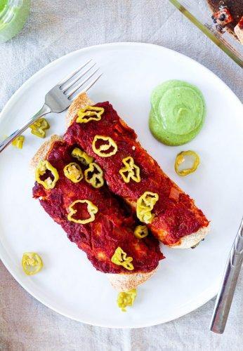 Creamy Eggplant Lentil Enchiladas (Vegan!)