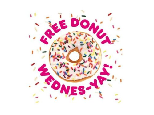 Dunkin': Free donut with beverage purchase on Wednesday, April 21
