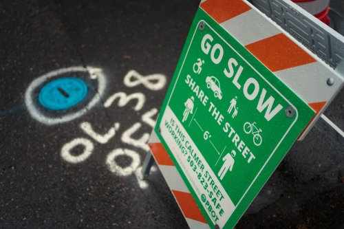 """Portland Man Who Moved """"Slow Street"""" Barrier Leaves a Cardboard Note Explaining Why"""