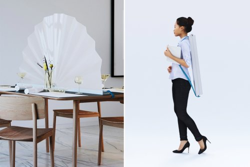 This Japanese fan-like portable screen lets you social distance anywhere