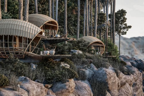 These cabins are designed to be habitable cocoons hanging on the edge of Cuban mountains!