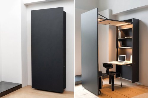 This slim wall cabinet opens into a sleek, modern, functional workspace!