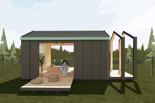 This tiny home's prefab, eco-centric design is a modular living space that expands as you need!