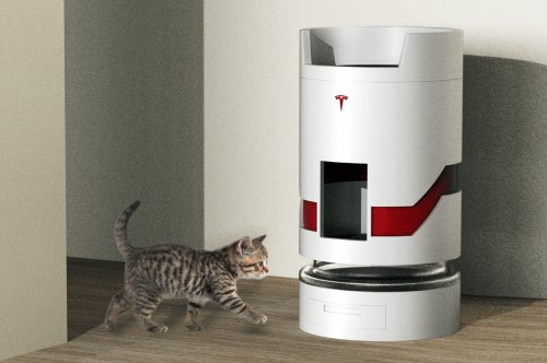 Meet the Tesla Model-L, a cat tower with an in-built litter box and green moss for your pet to lounge in futuristic style!