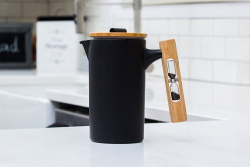 This French Press Coffee Maker has an hourglass built into its handle that lets you perfectly time your brew!