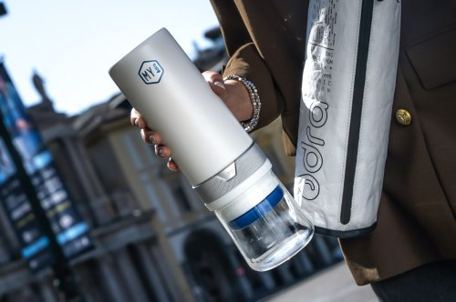 This 100% plastic-free bottle comes with a reusable filter that can literally purify water forever