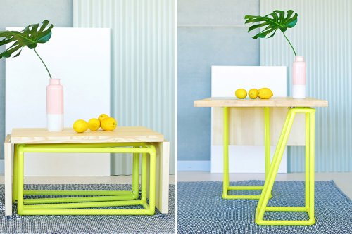 Designed for tiny homes, this modular coffee table expands, seating up to 6 people!