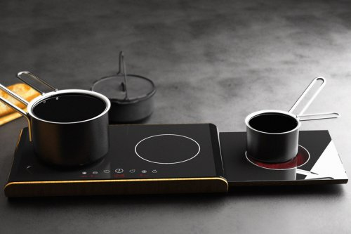 This slideout induction kitchen cooktop showcases portability modern cooks will appreciate