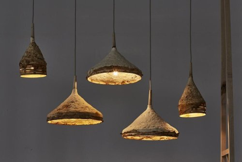 These sustainable Mushroom lamps are actually grown into their funnel shapes, instead of being mass produced
