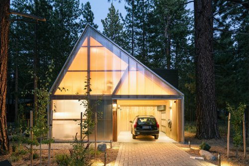 This unconventional cabin was built around existing trees to minimize the home's environmental impact!