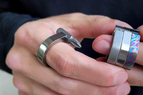 A wearable multitool EDC shaped like a ring, so you can carry an entire toolkit on your finger