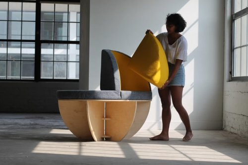This spherical multipurpose seating solution swivels to face any side of the room!